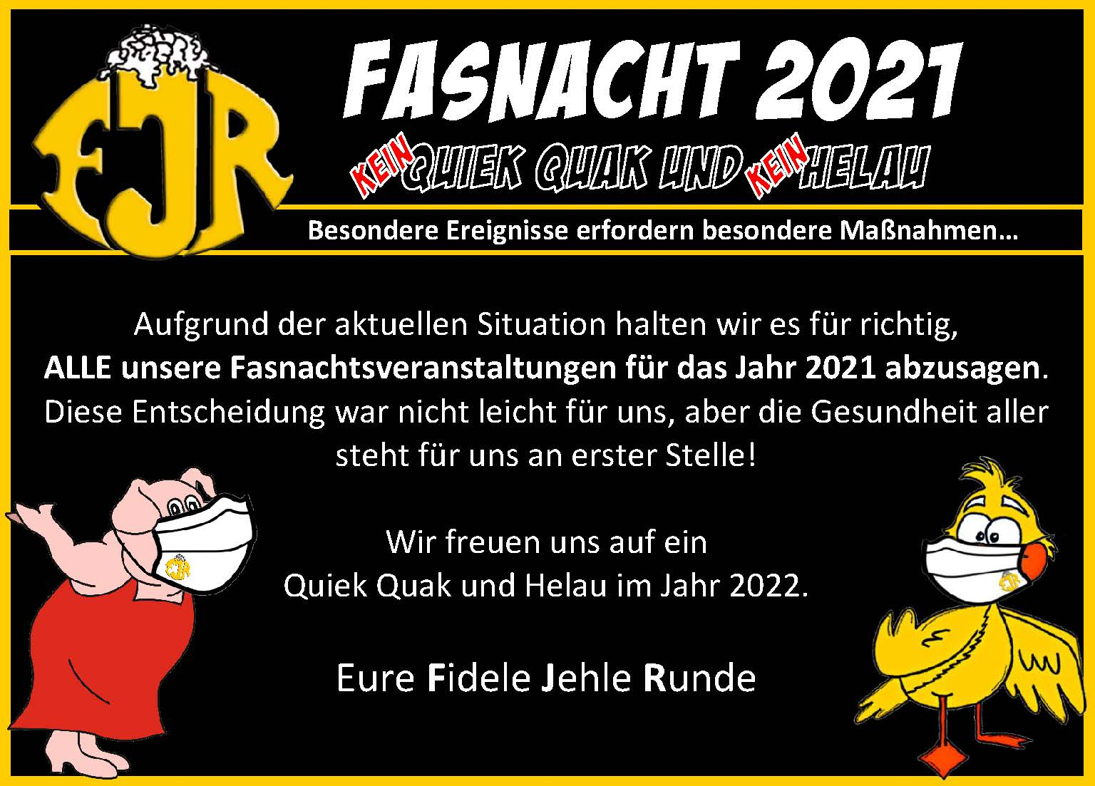 20200831 Absage Fasching 2021